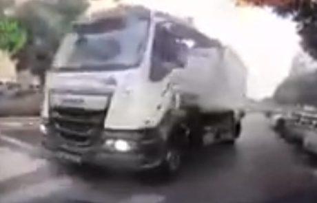 צפו בסרטון המטריד של משאית האשפה