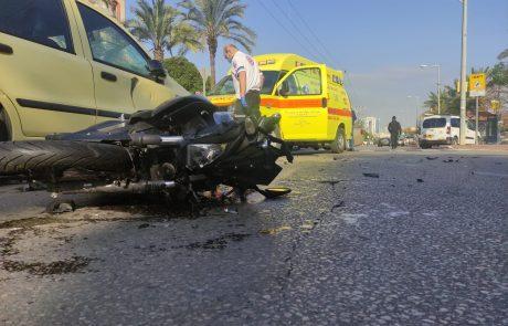 תאונה קשה עם מעורבות רכב פרטי ואופנוע