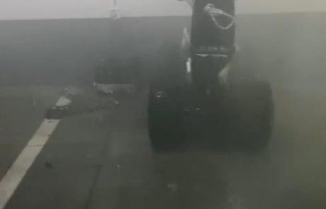 שריפת טרקטורון חשמלי בחניון תת קרקעי